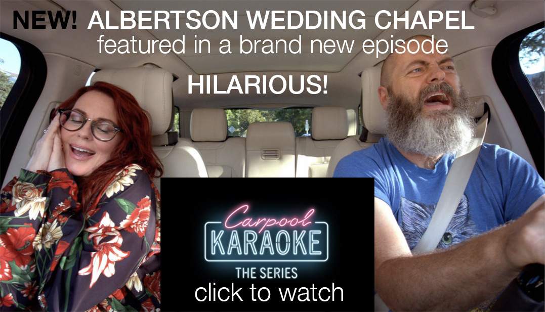 Watch Albertson Wedding Chapel featured in Apple Tv's Carpool Karaoke with Megan Lullally and Nick Offerman
