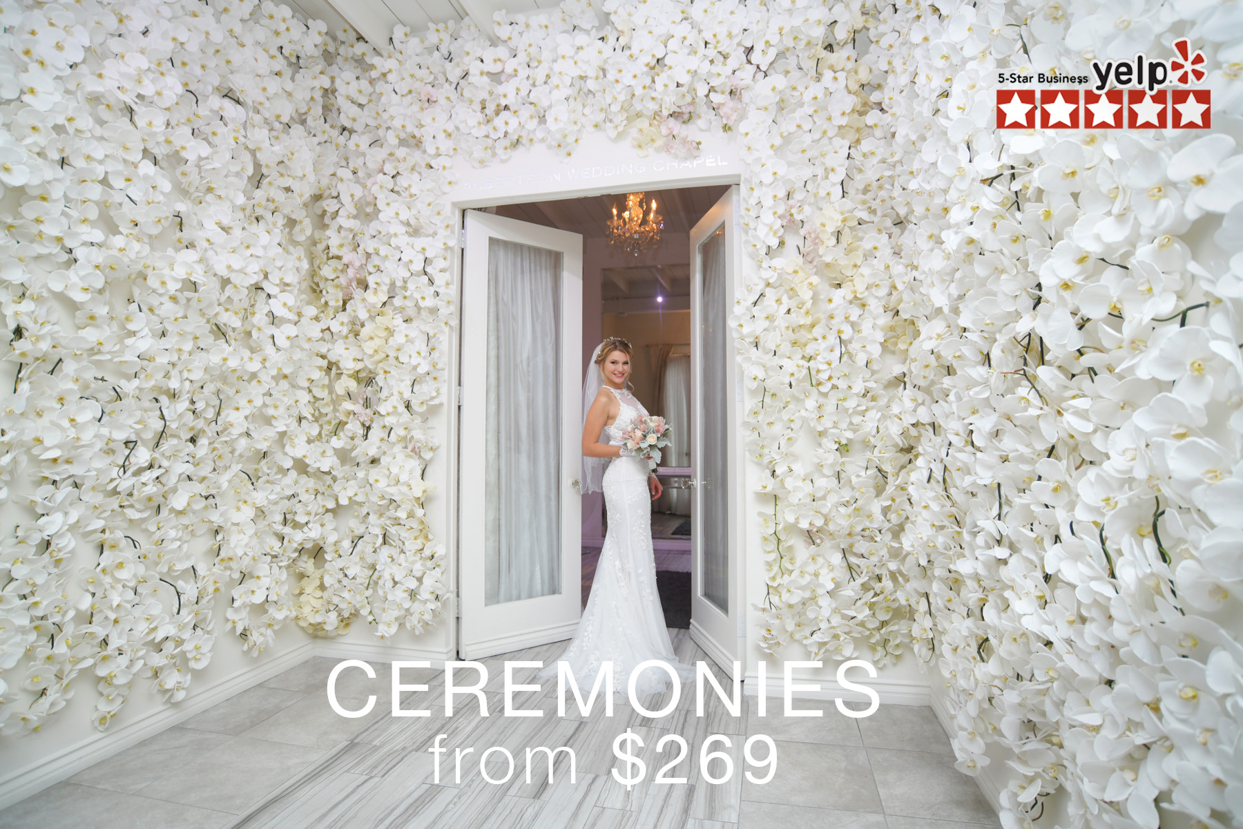 albertson wedding chapel flower wall