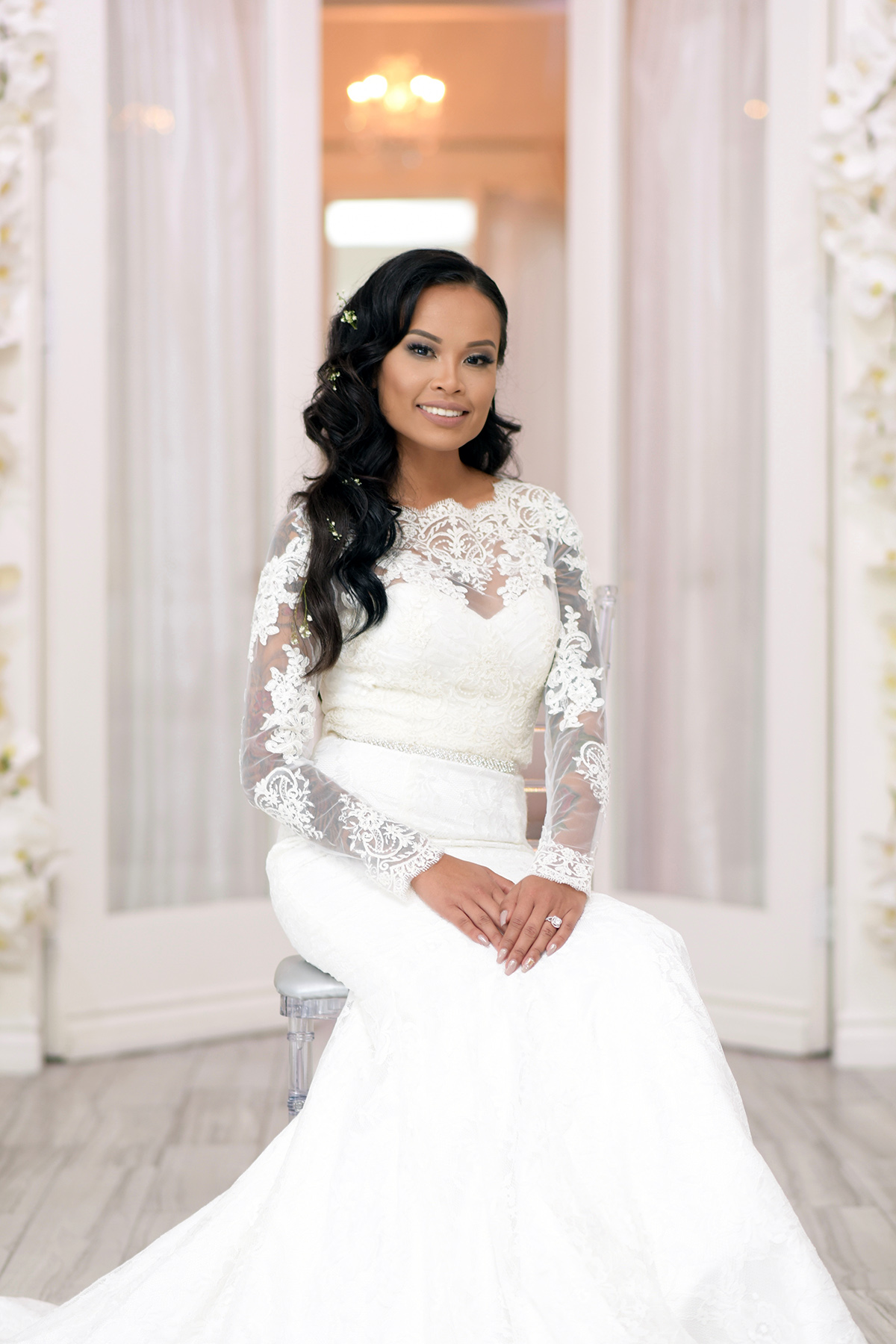 wedding photography of bride seated at Albertson Wedding Chapel