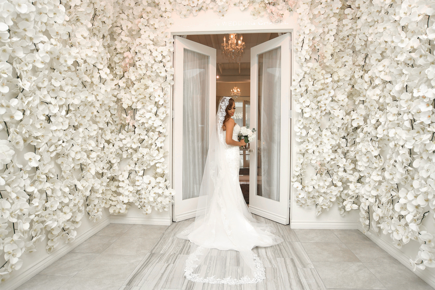 albertson wedding chapel flower wall