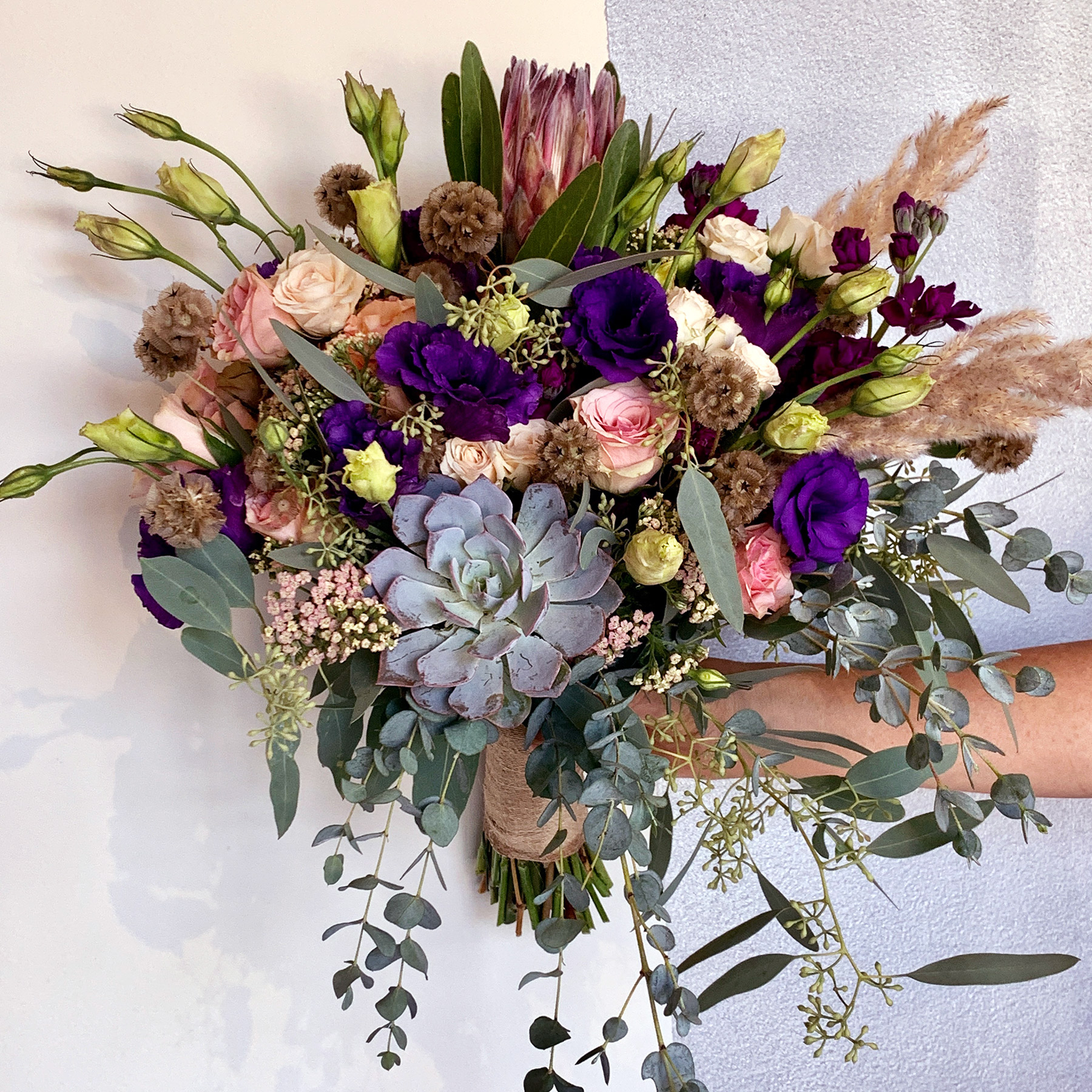 penelope bouquet with purple